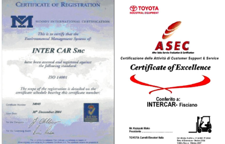 Intercar certificati